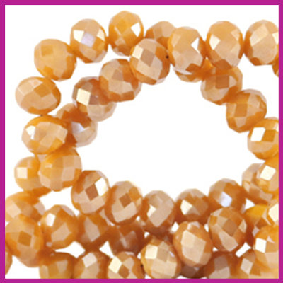 Glaskraal top facet disc 4x3mm Bleached apricot orange pearl shine