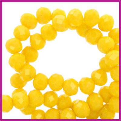 Glaskraal top facet disc 6x4mm Vibrant yellow pearl shine