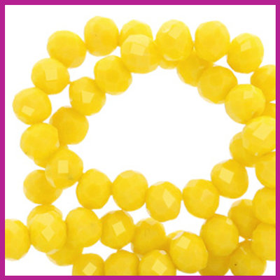 Glaskraal top facet disc 4x3mm Vibrant yellow pearl shine