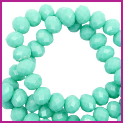 Glaskraal top facet disc 6x4mm Spearmint green pearl shine