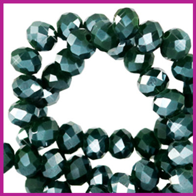 Glaskraal top facet disc 6x4mm Eden green pearl shine