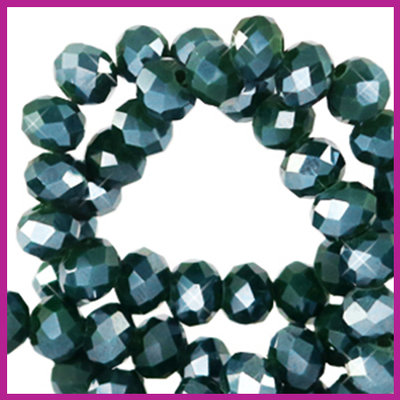 Glaskraal top facet disc 4x3mm Eden green pearl shine