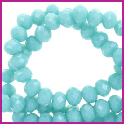 Glaskraal top facet disc 6x4mm Turquoise blue pearl shine