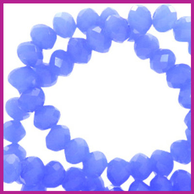 Glaskraal top facet disc 6x4mm Provence blue pearl shine