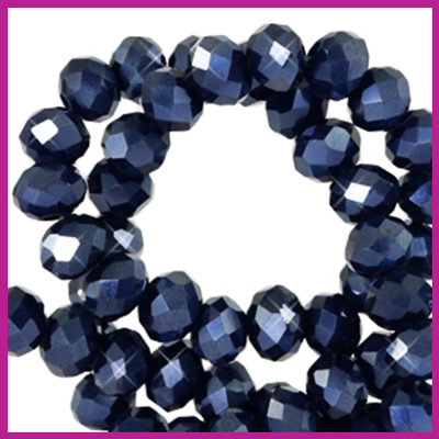 Glaskraal top facet disc 4x3mm Antracite blue pearl shine