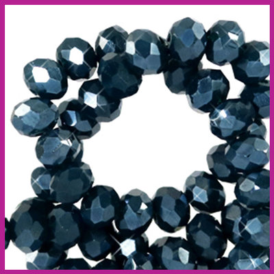Glaskraal top facet disc 6x4mm Depths blue pearl shine