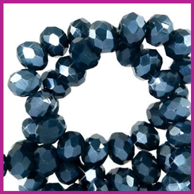 Glaskraal top facet disc 4x3mm Depths blue pearl shine