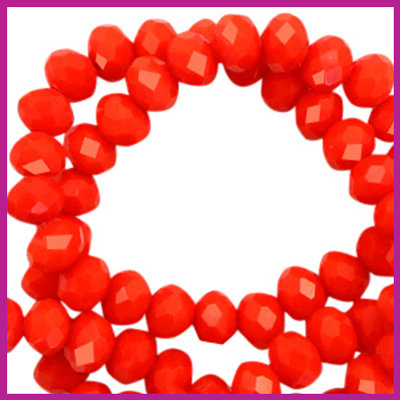 Glaskraal top facet disc 6x4mm Living coral red pearl shine