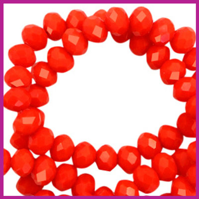 Glaskraal top facet disc 4x3mm Living coral red pearl shine