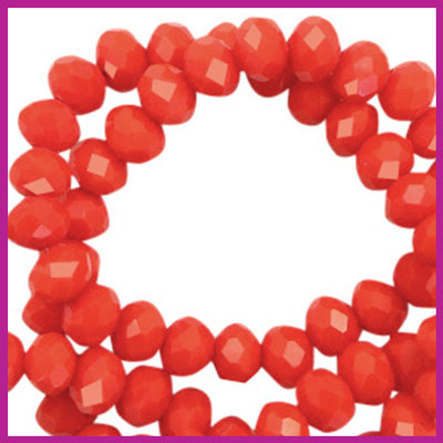 Glaskraal top facet disc 4x3mm Vintage coral red pearl shine