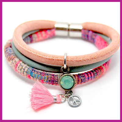 DIY pakket armband coral pink - meadow green