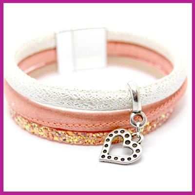 DIY pakket armband silver - peach rose