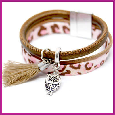 DIY pakket armband leopard rose - bronze brown