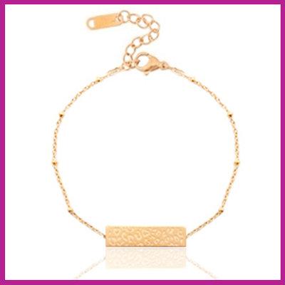 Stainless steel armbandje jasseron leopard bar rosegold
