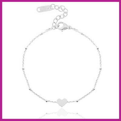 Stainless steel armbandje jasseron heart zilver