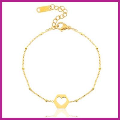 Stainless steel armbandje jasseron cut out heart goud
