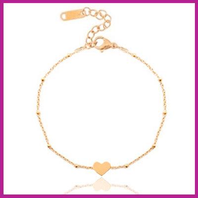Stainless steel armbandje jasseron heart rosegold