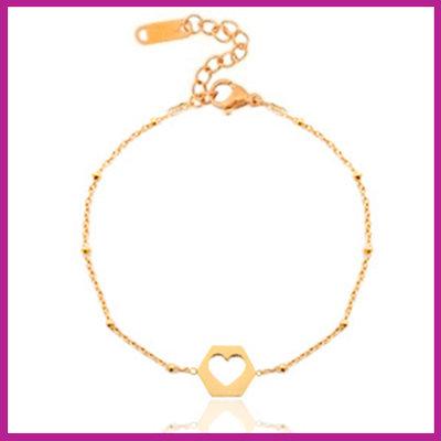 Stainless steel armbandje jasseron cut out heart rosegold