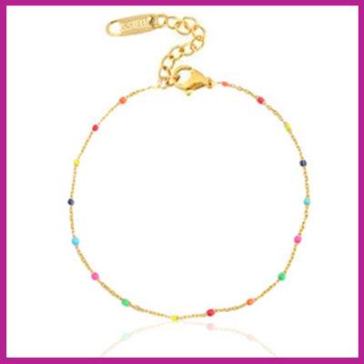 Stainless steel armbandje rainbow goud