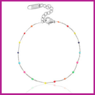 RVS Stainless steel armbandje rainbow zilver