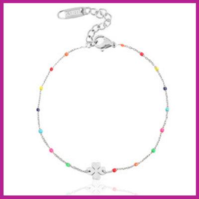 Stainless steel armbandje clover rainbow zilver