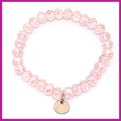 Sisa top facet armbandje 8x6mm pink pearl diamond coating