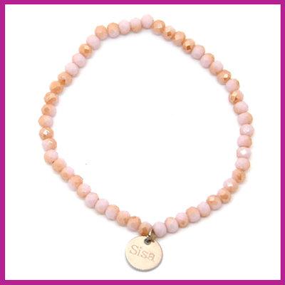 Sisa top facet armbandje 4x3mm lavender fog - rosegold pearl shine