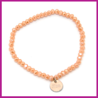 Sisa top facet armbandje 4x3mm nude orange top shine