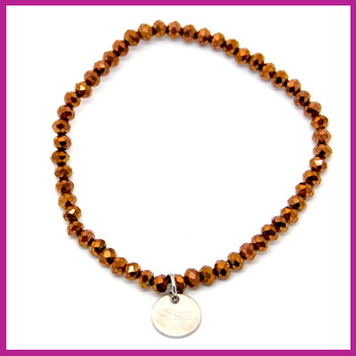 Sisa top facet armbandje 4x3mm Jet brown metallic-pearl shine