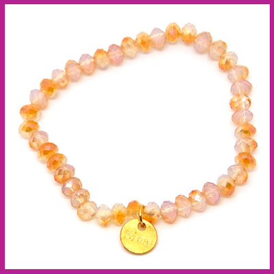 Sisa top facet armbandje 6x4mm white opal-half rosegold diamond