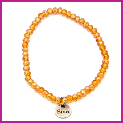 Sisa top facet armbandje 4x3mm topaz pearl shine