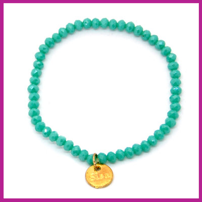 Sisa top facet armbandje 4x3mm turquoise green-pearl shine