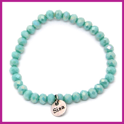 Sisa top facet armbandje 6x4mm bleached turquoise pearl shine