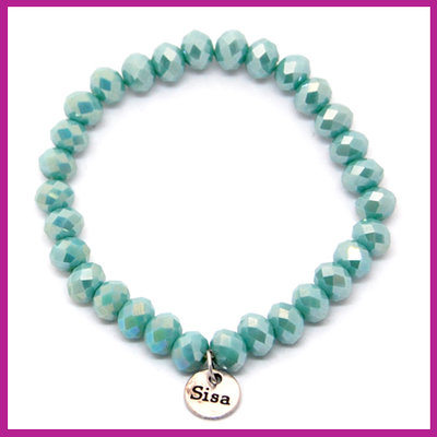 Sisa top facet armbandje 8x6mm bleached turquoise pearl shine diamond