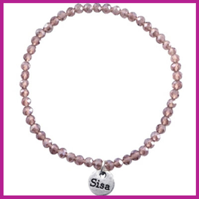 Sisa top facet armbandje 4x3mm anthracite opal pearl shine