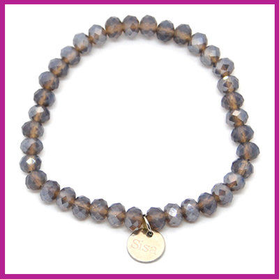 Sisa top facet armbandje 6x4mm anthracite opal pearl shine