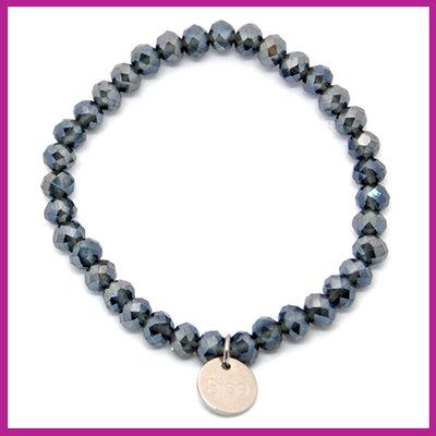 Sisa top facet armbandje 6x4mm montana blue pearl shine