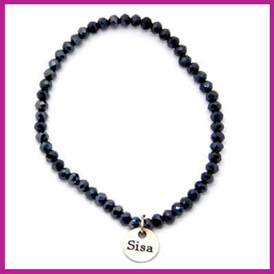Sisa top facet armbandje 4x3mm black hematite pearl shine