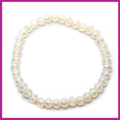 Sisa top facet armbandje 6x4mm white opal pearl shine