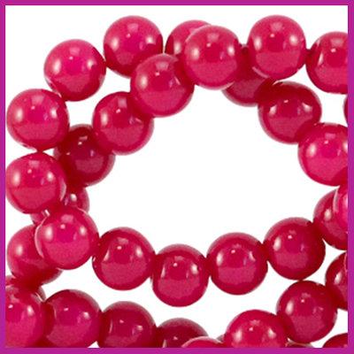 Glaskraal opaque Ø6mm raspberry pink