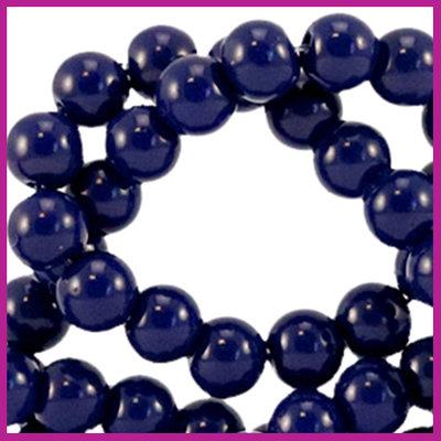 Glaskraal opaque Ø6mm dark sodalite blue