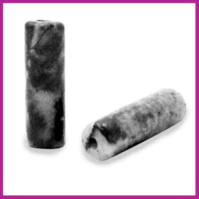 Natuursteen kraal tube rond black white marmer
