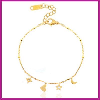 RVS Stainless steel armbandje heart star & moon goud