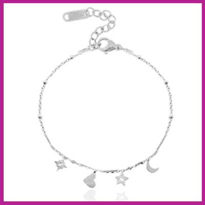 RVS Stainless steel armbandje heart star & moon zilver