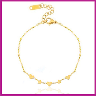 RVS Stainless steel armbandje hearts & stars goud