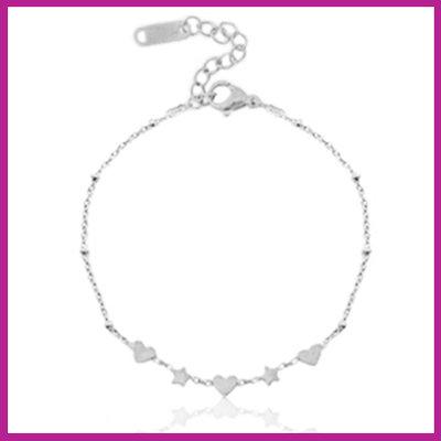 RVS Stainless steel armbandje hearts & stars zilver