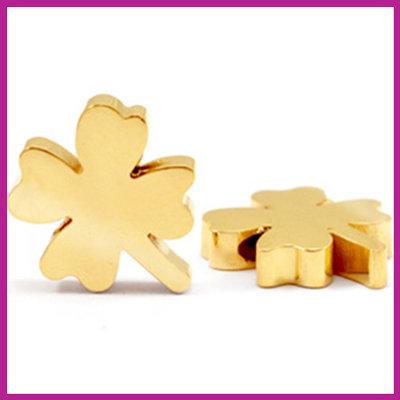 RVS stainless steel kraal klaver goud