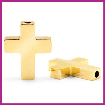 RVS stainless steel kraal kruis goud