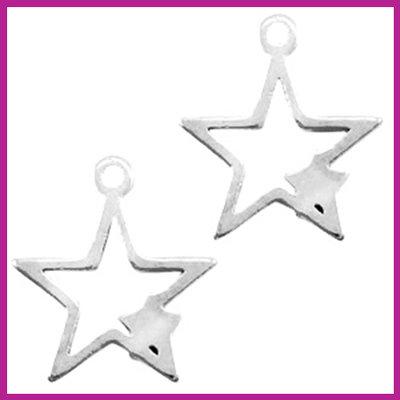RVS stainless steel bedel ster met ster zilver
