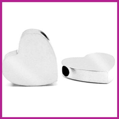 RVS stainless steel kraal hart zilver